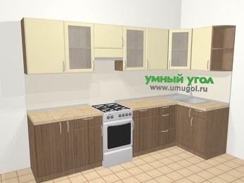 Угловая кухня МДФ матовый в современном стиле 6,3 м², 300 на 120 см, Ваниль / Лиственница бронзовая, верхние модули 72 см, отдельно стоящая плита