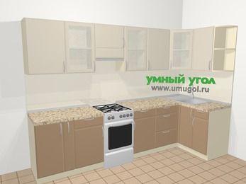 Угловая кухня МДФ матовый в современном стиле 6,3 м², 300 на 120 см, Керамик / Кофе, верхние модули 72 см, отдельно стоящая плита