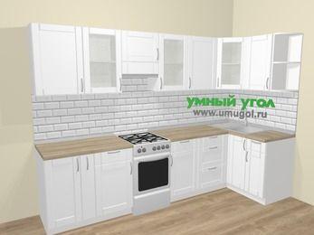 Угловая кухня МДФ матовый  в скандинавском стиле 6,3 м², 300 на 120 см, Белый, верхние модули 72 см, отдельно стоящая плита