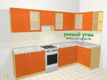 Угловая кухня МДФ металлик в современном стиле 6,3 м², 300 на 120 см, Оранжевый металлик, верхние модули 72 см, отдельно стоящая плита