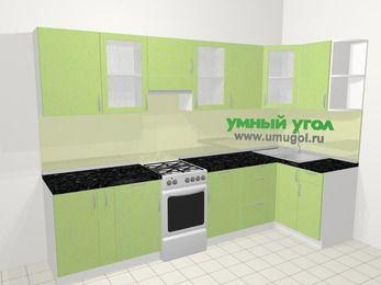 Угловая кухня МДФ металлик в современном стиле 6,3 м², 300 на 120 см, Салатовый металлик, верхние модули 72 см, отдельно стоящая плита
