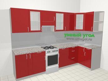 Угловая кухня МДФ глянец в современном стиле 6,3 м², 300 на 120 см, Красный, верхние модули 72 см, отдельно стоящая плита