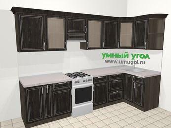Угловая кухня МДФ патина в классическом стиле 6,3 м², 300 на 120 см, Венге, верхние модули 72 см, отдельно стоящая плита