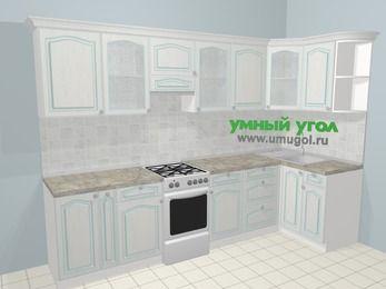 Угловая кухня МДФ патина в стиле прованс 6,3 м², 300 на 120 см, Лиственница белая, верхние модули 72 см, отдельно стоящая плита