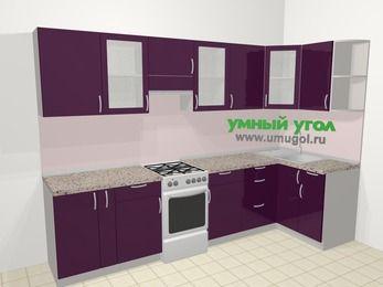Угловая кухня МДФ глянец в современном стиле 6,3 м², 300 на 120 см, Баклажан, верхние модули 72 см, отдельно стоящая плита