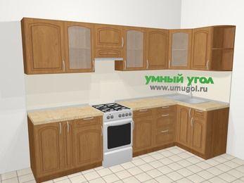 Угловая кухня МДФ патина в классическом стиле 6,3 м², 300 на 120 см, Ольха, верхние модули 72 см, отдельно стоящая плита