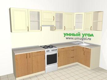 Угловая кухня из МДФ + ЛДСП 6,3 м², 3000 на 1200 мм, Ваниль / Ольха, верхние модули 720 мм, отдельно стоящая плита