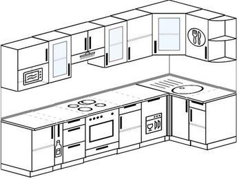 Угловая кухня 6,3 м² (3,0✕1,2 м), верхние модули 72 см, посудомоечная машина, модуль под свч, встроенный духовой шкаф