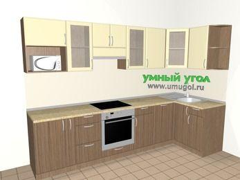 Угловая кухня МДФ матовый 6,3 м², 3000 на 1200 мм, Ваниль / Лиственница бронзовая, верхние модули 720 мм, посудомоечная машина, модуль под свч, встроенный духовой шкаф