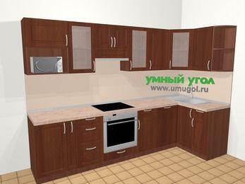 Угловая кухня МДФ матовый в классическом стиле 6,3 м², 300 на 120 см, Вишня темная, верхние модули 72 см, посудомоечная машина, модуль под свч, встроенный духовой шкаф