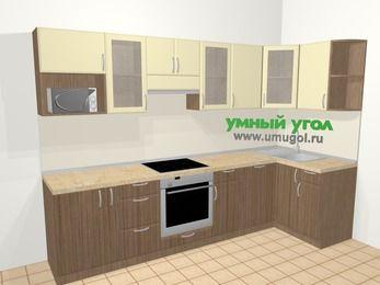 Угловая кухня МДФ матовый в современном стиле 6,3 м², 300 на 120 см, Ваниль / Лиственница бронзовая, верхние модули 72 см, посудомоечная машина, модуль под свч, встроенный духовой шкаф