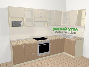 Угловая кухня МДФ матовый в современном стиле 6,3 м², 300 на 120 см, Керамик / Кофе, верхние модули 72 см, посудомоечная машина, модуль под свч, встроенный духовой шкаф