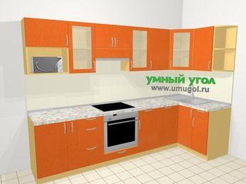 Угловая кухня МДФ металлик в современном стиле 6,3 м², 300 на 120 см, Оранжевый металлик, верхние модули 72 см, посудомоечная машина, модуль под свч, встроенный духовой шкаф