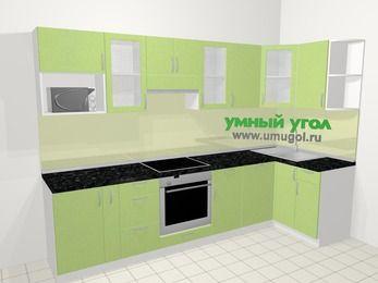Угловая кухня МДФ металлик в современном стиле 6,3 м², 300 на 120 см, Салатовый металлик, верхние модули 72 см, посудомоечная машина, модуль под свч, встроенный духовой шкаф