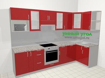 Угловая кухня МДФ глянец в современном стиле 6,3 м², 300 на 120 см, Красный, верхние модули 72 см, посудомоечная машина, модуль под свч, встроенный духовой шкаф