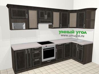Угловая кухня МДФ патина в классическом стиле 6,3 м², 300 на 120 см, Венге, верхние модули 72 см, посудомоечная машина, модуль под свч, встроенный духовой шкаф