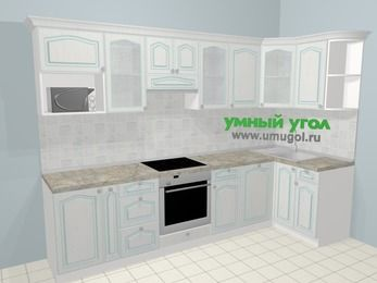 Угловая кухня МДФ патина в стиле прованс 6,3 м², 300 на 120 см, Лиственница белая, верхние модули 72 см, посудомоечная машина, модуль под свч, встроенный духовой шкаф