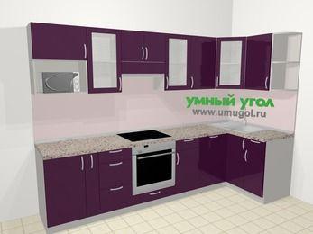 Угловая кухня МДФ глянец в современном стиле 6,3 м², 300 на 120 см, Баклажан, верхние модули 72 см, посудомоечная машина, модуль под свч, встроенный духовой шкаф