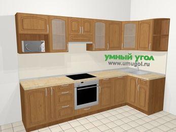 Угловая кухня МДФ патина в классическом стиле 6,3 м², 300 на 120 см, Ольха, верхние модули 72 см, посудомоечная машина, модуль под свч, встроенный духовой шкаф
