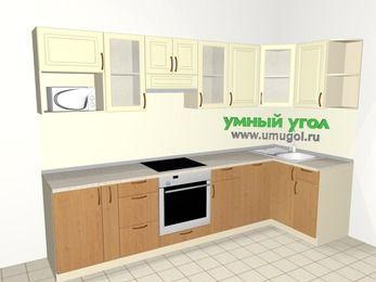 Угловая кухня из МДФ + ЛДСП 6,3 м², 3000 на 1200 мм, Ваниль / Ольха, верхние модули 720 мм, посудомоечная машина, модуль под свч, встроенный духовой шкаф