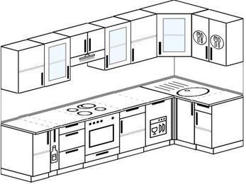 Угловая кухня 6,3 м² (3,0✕1,2 м), верхние модули 72 см, посудомоечная машина, встроенный духовой шкаф