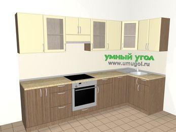 Угловая кухня МДФ матовый 6,3 м², 3000 на 1200 мм, Ваниль / Лиственница бронзовая, верхние модули 720 мм, посудомоечная машина, встроенный духовой шкаф
