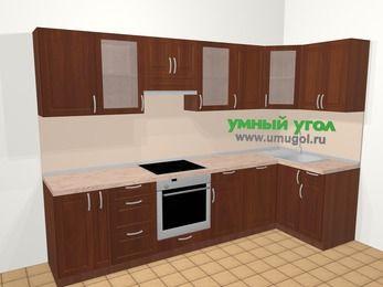 Угловая кухня МДФ матовый в классическом стиле 6,3 м², 300 на 120 см, Вишня темная, верхние модули 72 см, посудомоечная машина, встроенный духовой шкаф