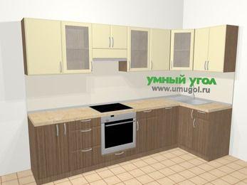 Угловая кухня МДФ матовый в современном стиле 6,3 м², 300 на 120 см, Ваниль / Лиственница бронзовая, верхние модули 72 см, посудомоечная машина, встроенный духовой шкаф