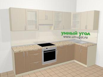 Угловая кухня МДФ матовый в современном стиле 6,3 м², 300 на 120 см, Керамик / Кофе, верхние модули 72 см, посудомоечная машина, встроенный духовой шкаф