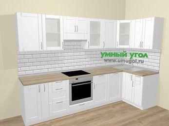 Угловая кухня МДФ матовый  в скандинавском стиле 6,3 м², 300 на 120 см, Белый, верхние модули 72 см, посудомоечная машина, встроенный духовой шкаф