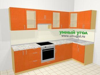 Угловая кухня МДФ металлик в современном стиле 6,3 м², 300 на 120 см, Оранжевый металлик, верхние модули 72 см, посудомоечная машина, встроенный духовой шкаф