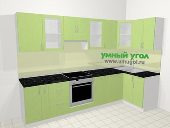 Угловая кухня МДФ металлик в современном стиле 6,3 м², 300 на 120 см, Салатовый металлик, верхние модули 72 см, посудомоечная машина, встроенный духовой шкаф