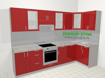 Угловая кухня МДФ глянец в современном стиле 6,3 м², 300 на 120 см, Красный, верхние модули 72 см, посудомоечная машина, встроенный духовой шкаф