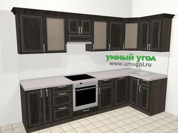 Угловая кухня МДФ патина в классическом стиле 6,3 м², 300 на 120 см, Венге, верхние модули 72 см, посудомоечная машина, встроенный духовой шкаф