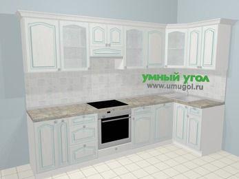 Угловая кухня МДФ патина в стиле прованс 6,3 м², 300 на 120 см, Лиственница белая, верхние модули 72 см, посудомоечная машина, встроенный духовой шкаф