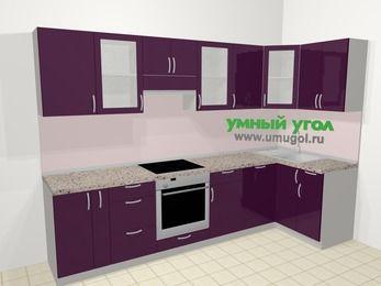 Угловая кухня МДФ глянец в современном стиле 6,3 м², 300 на 120 см, Баклажан, верхние модули 72 см, посудомоечная машина, встроенный духовой шкаф
