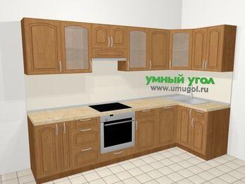 Угловая кухня МДФ патина в классическом стиле 6,3 м², 300 на 120 см, Ольха, верхние модули 72 см, посудомоечная машина, встроенный духовой шкаф