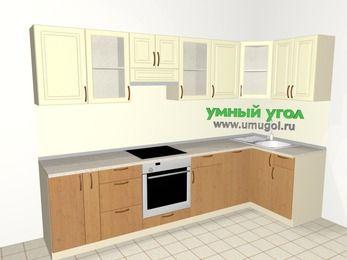 Угловая кухня из МДФ + ЛДСП 6,3 м², 3000 на 1200 мм, Ваниль / Ольха, верхние модули 720 мм, посудомоечная машина, встроенный духовой шкаф