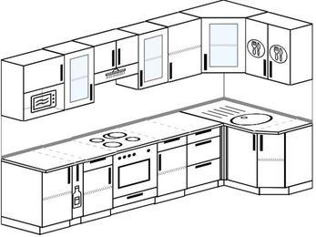 Планировка угловой кухни 6,3 м², 300 на 120 см: верхние модули 72 см, корзина-бутылочница, встроенный духовой шкаф, модуль под свч