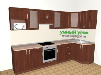 Угловая кухня МДФ матовый 6,3 м², 3000 на 1200 мм, Вишня темная: верхние модули 720 мм, корзина-бутылочница, встроенный духовой шкаф, модуль под свч