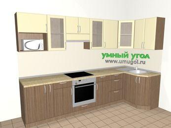 Угловая кухня МДФ матовый 6,3 м², 3000 на 1200 мм, Ваниль / Лиственница бронзовая, верхние модули 720 мм, модуль под свч, встроенный духовой шкаф