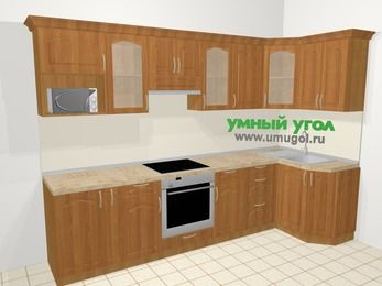 Угловая кухня МДФ матовый в классическом стиле 6,3 м², 300 на 120 см, Вишня: верхние модули 72 см, корзина-бутылочница, встроенный духовой шкаф, модуль под свч