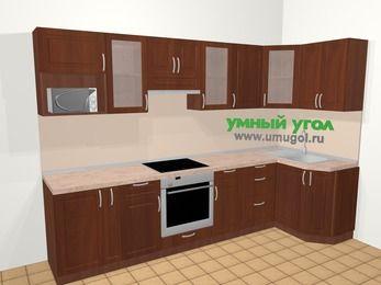 Угловая кухня МДФ матовый в классическом стиле 6,3 м², 300 на 120 см, Вишня темная: верхние модули 72 см, корзина-бутылочница, встроенный духовой шкаф, модуль под свч
