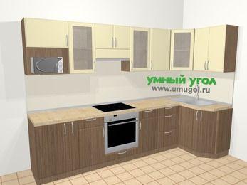 Угловая кухня МДФ матовый в современном стиле 6,3 м², 300 на 120 см, Ваниль / Лиственница бронзовая: верхние модули 72 см, корзина-бутылочница, встроенный духовой шкаф, модуль под свч