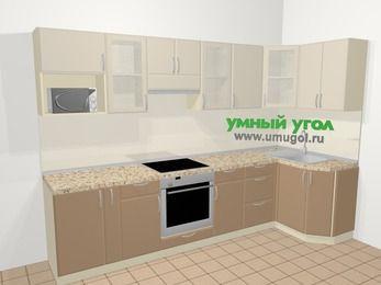 Угловая кухня МДФ матовый в современном стиле 6,3 м², 300 на 120 см, Керамик / Кофе: верхние модули 72 см, корзина-бутылочница, встроенный духовой шкаф, модуль под свч