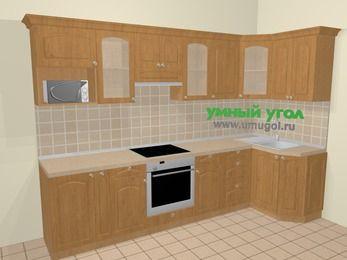 Угловая кухня МДФ матовый в стиле кантри 6,3 м², 300 на 120 см, Ольха: верхние модули 72 см, корзина-бутылочница, встроенный духовой шкаф, модуль под свч