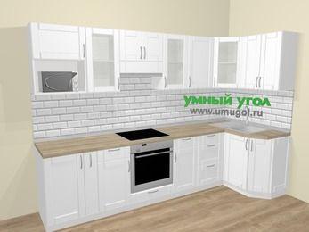 Угловая кухня МДФ матовый  в скандинавском стиле 6,3 м², 300 на 120 см, Белый: верхние модули 72 см, корзина-бутылочница, встроенный духовой шкаф, модуль под свч