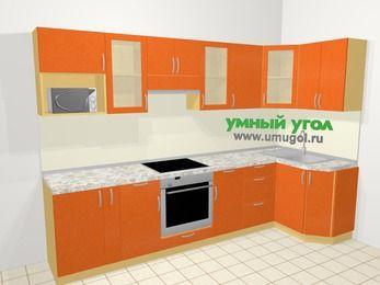 Угловая кухня МДФ металлик в современном стиле 6,3 м², 300 на 120 см, Оранжевый металлик: верхние модули 72 см, корзина-бутылочница, встроенный духовой шкаф, модуль под свч