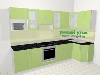 Угловая кухня МДФ металлик в современном стиле 6,3 м², 300 на 120 см, Салатовый металлик: верхние модули 72 см, корзина-бутылочница, встроенный духовой шкаф, модуль под свч