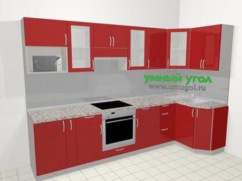 Угловая кухня МДФ глянец в современном стиле 6,3 м², 300 на 120 см, Красный: верхние модули 72 см, корзина-бутылочница, встроенный духовой шкаф, модуль под свч
